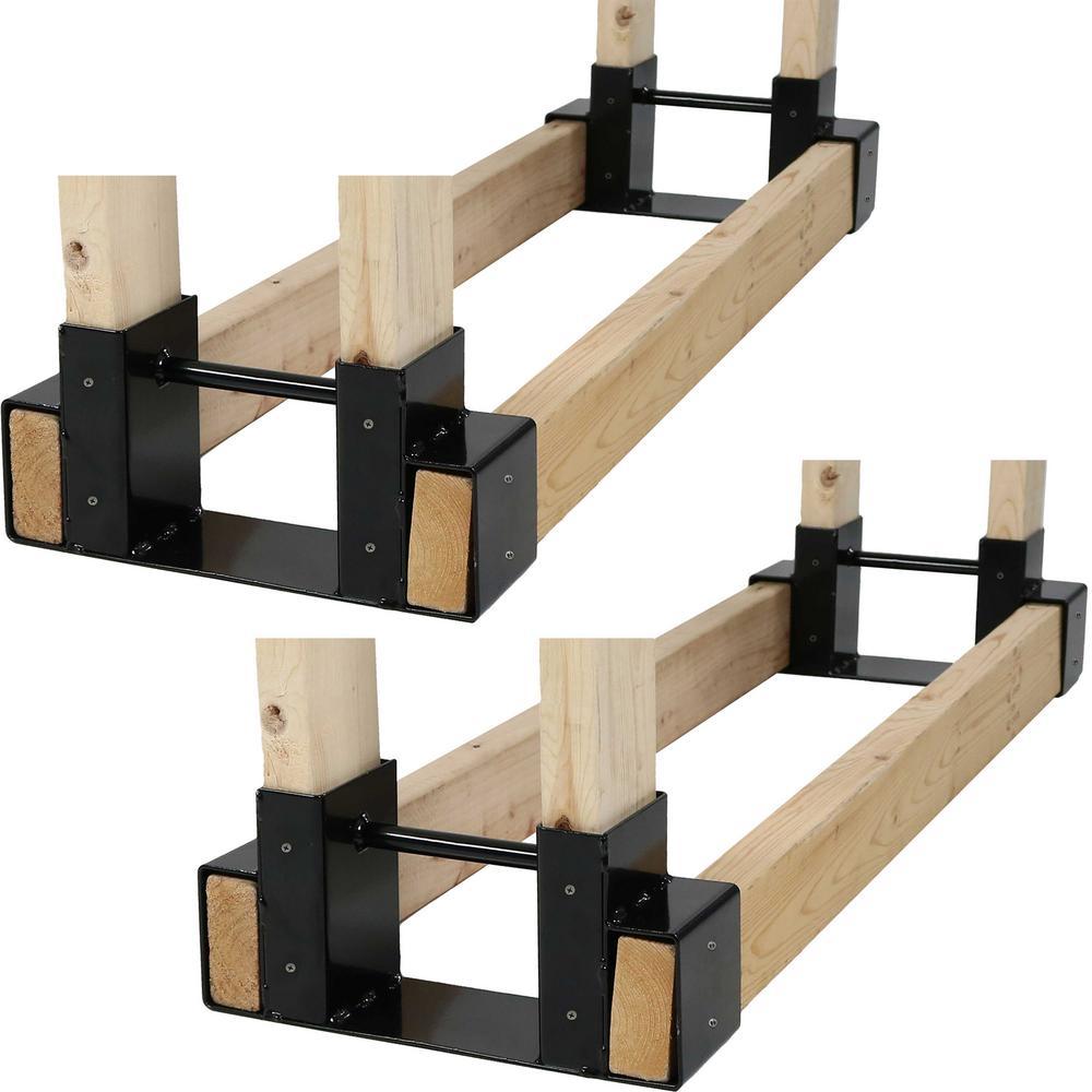 Sunnydaze Decor Steel Firewood Log Rack Bracket Kit - Adjustable to Any Length (Set of 2)