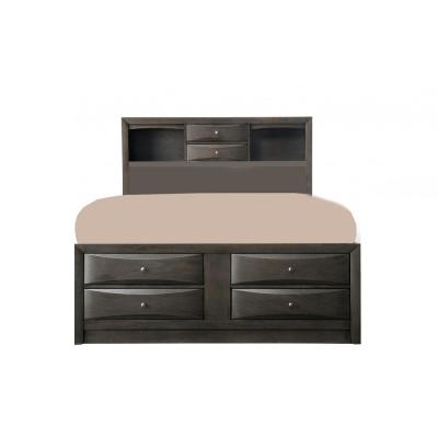 Amelia Oak Rubber Wood Gray Queen Bed with Bookcase Headboard