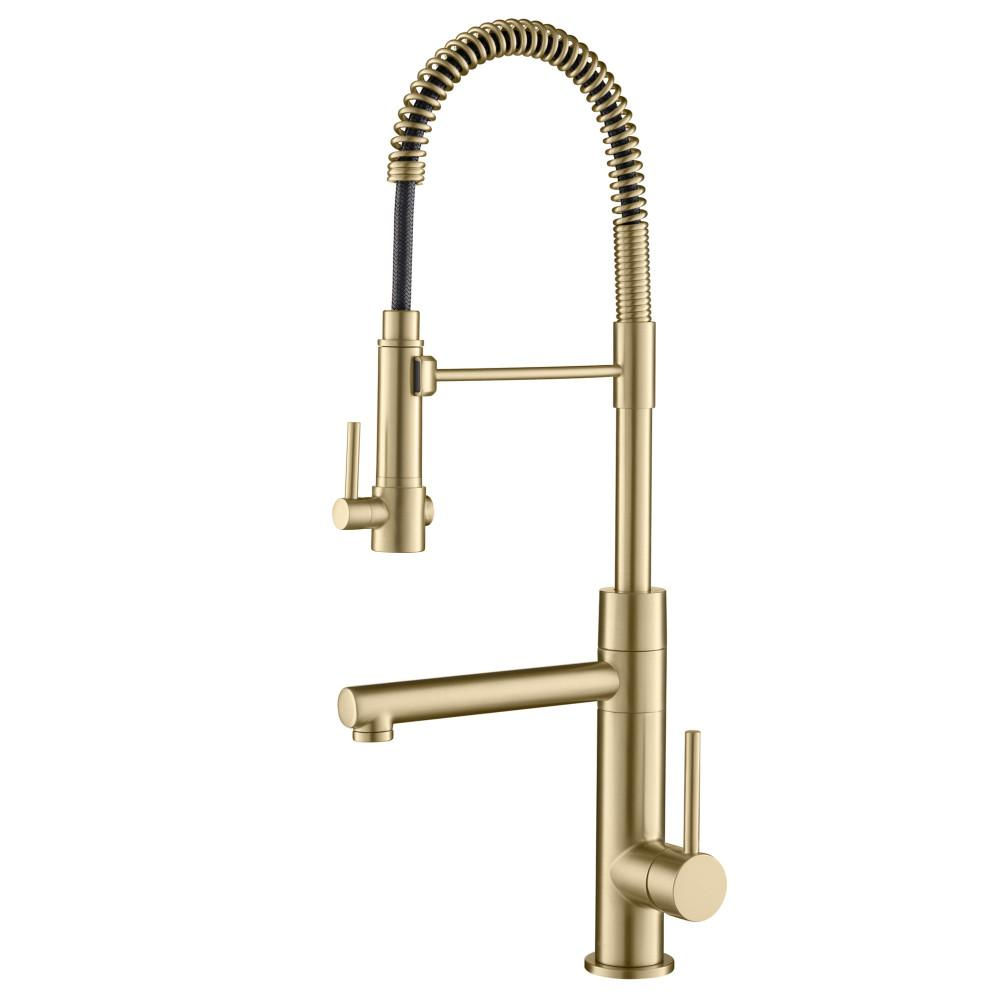 KRAUS Artec Pro Single-Handle Pull-Down Sprayer Kitchen Faucet and Pot  Filler in Brushed Gold