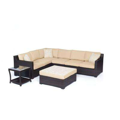 Metropolitan Brown 6-Piece Aluminum All-Weather Wicker Patio Seating Set with Sahara Sand Cushions