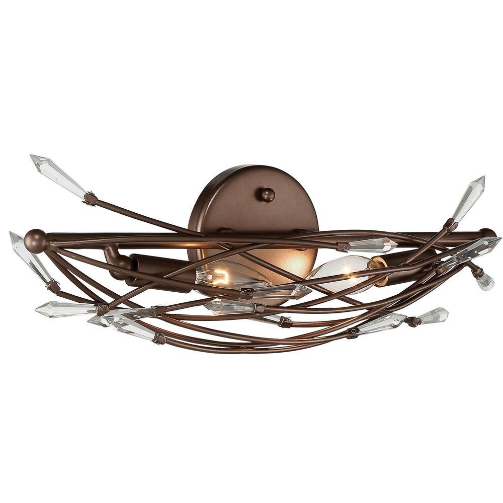 Offshoot 2-Light Bronze Crystal Bath Light