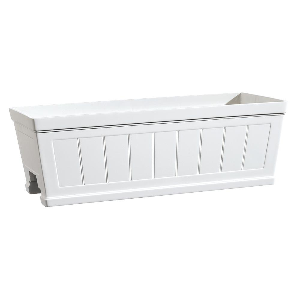 hanover 27 in white resin beadboard deck rail planter hd1116 089 rh homedepot com Home Depot Deck Rail Planters Deck Railing Flower Planters