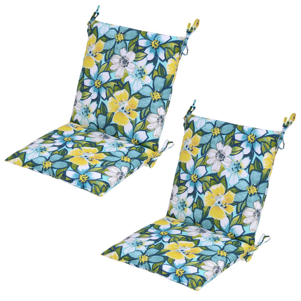 Emerald Paradise Mid-Back Outdoor Dining Chair Cushion (2-Pack)