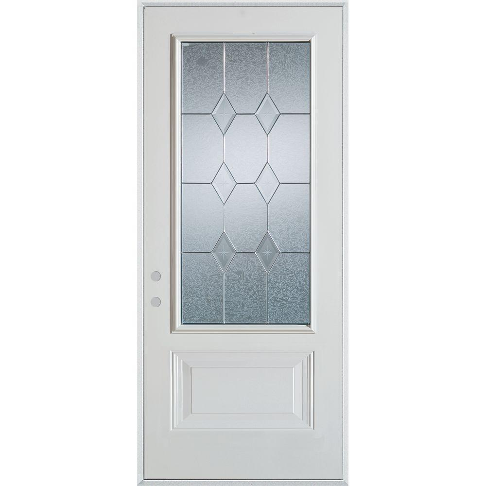 36 in. x 80 in. Geometric Patina 3/4 Lite 1-Panel Painted