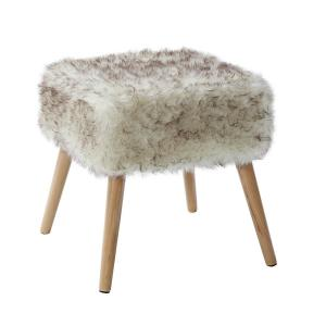 Marvelous Cream Square Faux Fur Stool Cjindustries Chair Design For Home Cjindustriesco