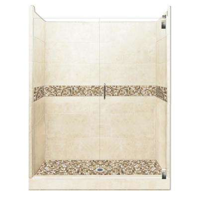 Roma Grand Hinged 30 in. x 60 in. x 80 in. Center Drain Alcove Shower Kit in Desert Sand and Chrome Hardware