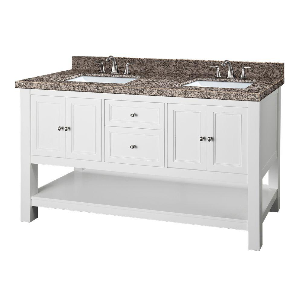 Home Decorators Collection Gazette 61 in. W x 22 in. D Double Vanity in White with Granite Vanity Top in Sircolo and White Sinks was $1699.0 now $1189.3 (30.0% off)