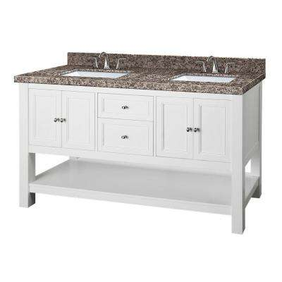 Gazette 61 in. W x 22 in. D Double Vanity in White with Granite Vanity Top in Sircolo and White Sinks