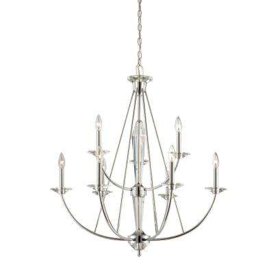 Palatial 9-Light Chrome Interior Incandescent Chandelier