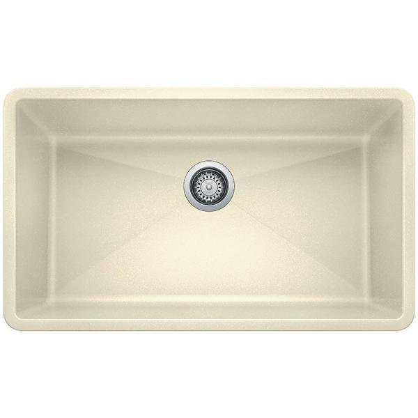 Precis Undermount Granite 32 in. x 19 in. Single Bowl Kitchen Sink in Biscuit