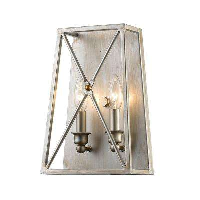 Avram 2-Light Antique Silver Wall Sconce with Antique Silver Steel Shade