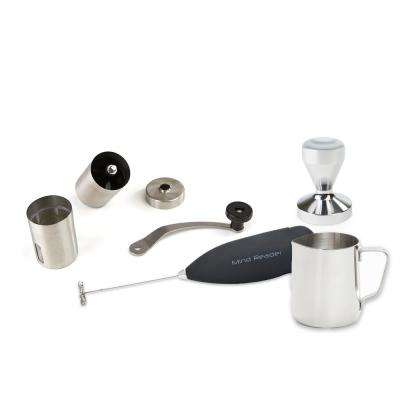 Coffee Lovers 4-Piece Tamper, Frother, Pitcher, Grinder, Stainless Steel Set