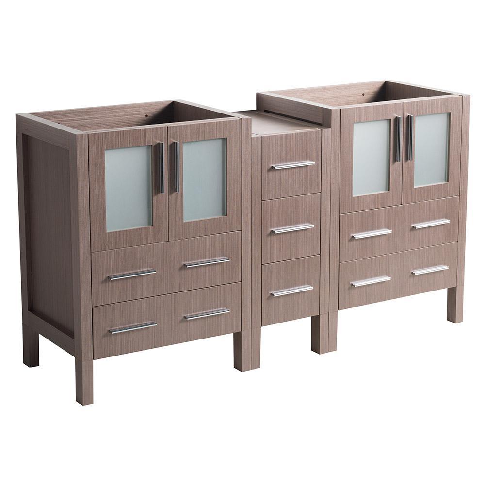 60 in. Torino Modern Double Bathroom Vanity Cabinet in Gray Oak