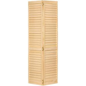 36 in. x 80 in. 36 in. Plantation Louvered Solid Core Unfinished Wood Interior Closet Bi-Fold Door