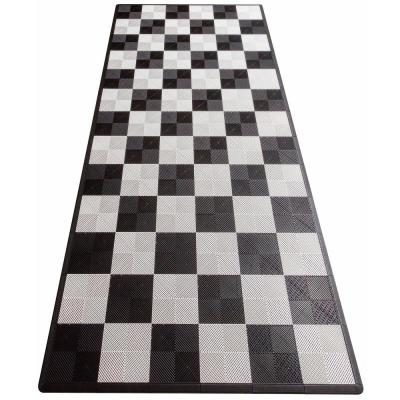Black and White Checkered Single Car Pad Ribtrax Modular Tile Flooring (134 sq. ft./case)