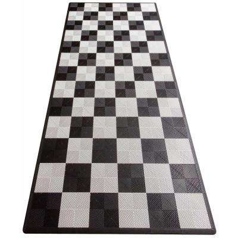 Black and White Checkered Single Car Pad Ribtrax Modular Tile Flooring (134 sq. ft./case)