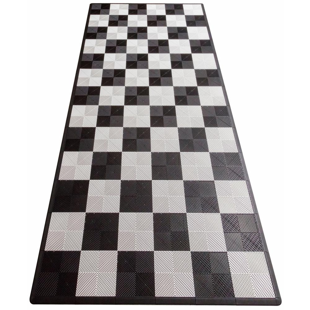 Swisstrax Black And White Checkered Single Car Pad Ribtrax Modular