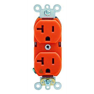 20 Amp Industrial Grade Isolated Ground Duplex Outlet, Orange