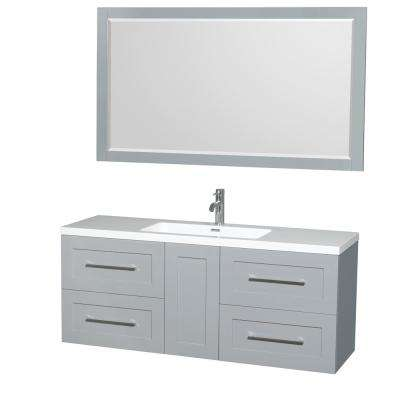 Olivia 60 in. W x 19 in. D Vanity in Dove Gray with Acrylic Vanity Top in White with White Basin and 58 in. Mirror