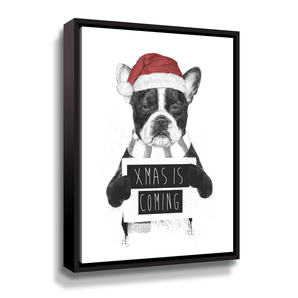 ArtWall 'Xmas is coming' by Balazs Solti Framed Canvas Wall Art, Black This beautiful gallery wrapped canvas art is the perfect piece of wall decor for that bare wall. Display this gorgeous wall art decor in the living area with some brushed nickel sconces. Hang this artwork in the dining area for a wonderful conversation piece. Color: Black.