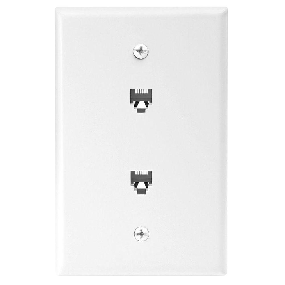 2-Jack Mid-Size Telephone Jack Wall Plate and Connectors - White