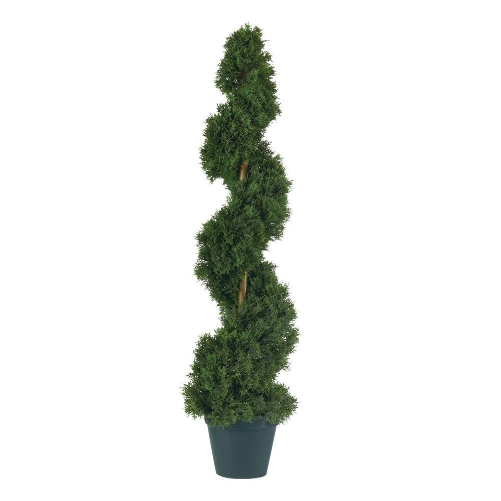 Nearly Natural 3 ft. Cedar Spiral Silk Tree Crafted with quality and detail in mind this stunning cedar artificial tree will brighten up any space. It features 724 meticulously designed leaves each with an authentic texture. This spiral shaped cedar stands 3 ft. tall and sits in a nursery pot. Perfect for a foyer or outdoor covered entranceway this Cedar Spiral tree will add that perfect touch of traditional colonial elegance to any in area in your home.