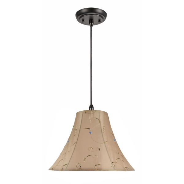 1-Light Oil Rubbed Bronze Pendant with Gold Bell Fabric Shade