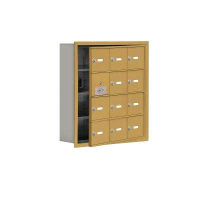 19100 Series 22.75 in. W x 24.25 in. H x 5.75 in. D 11 Doors Cell Phone Locker Recess Mount Keyed Lock in Gold