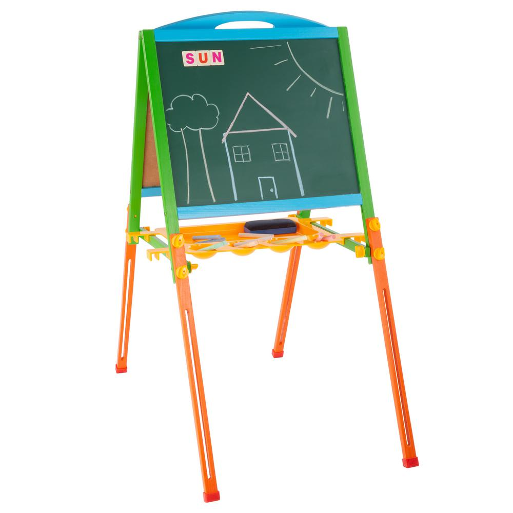 Two-Sided Adjustable Kids' Easel with Magnetic Boards