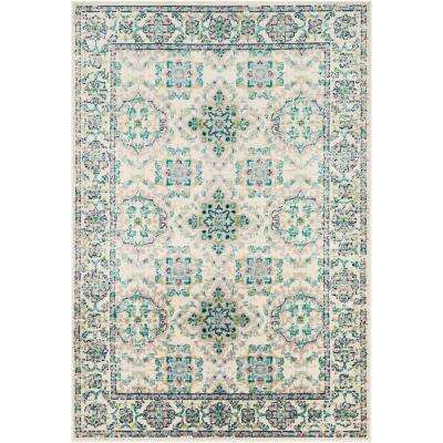 Sora Teal/Lime 7 ft. 9 in. x 11 ft. 2 in. Oriental Area Rug