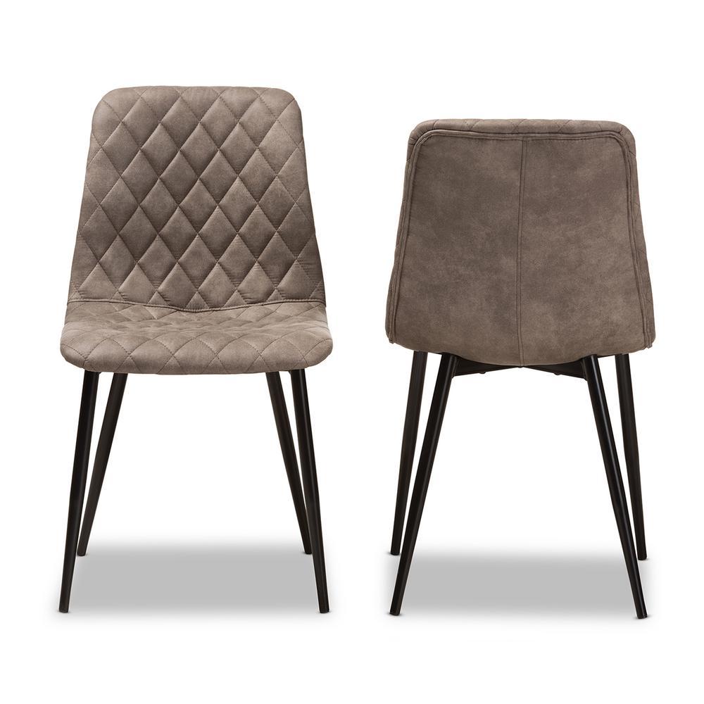 Baxton Studio Roberta Light Brown Fabric Dining Chair Set Of 2