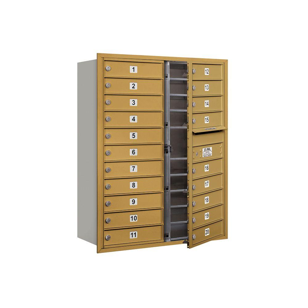 Salsbury Industries 3700 Series 41 in. 11 Door High Unit Gold Private Front Loading 4C Horizontal Mailbox with 20 MB1 Doors