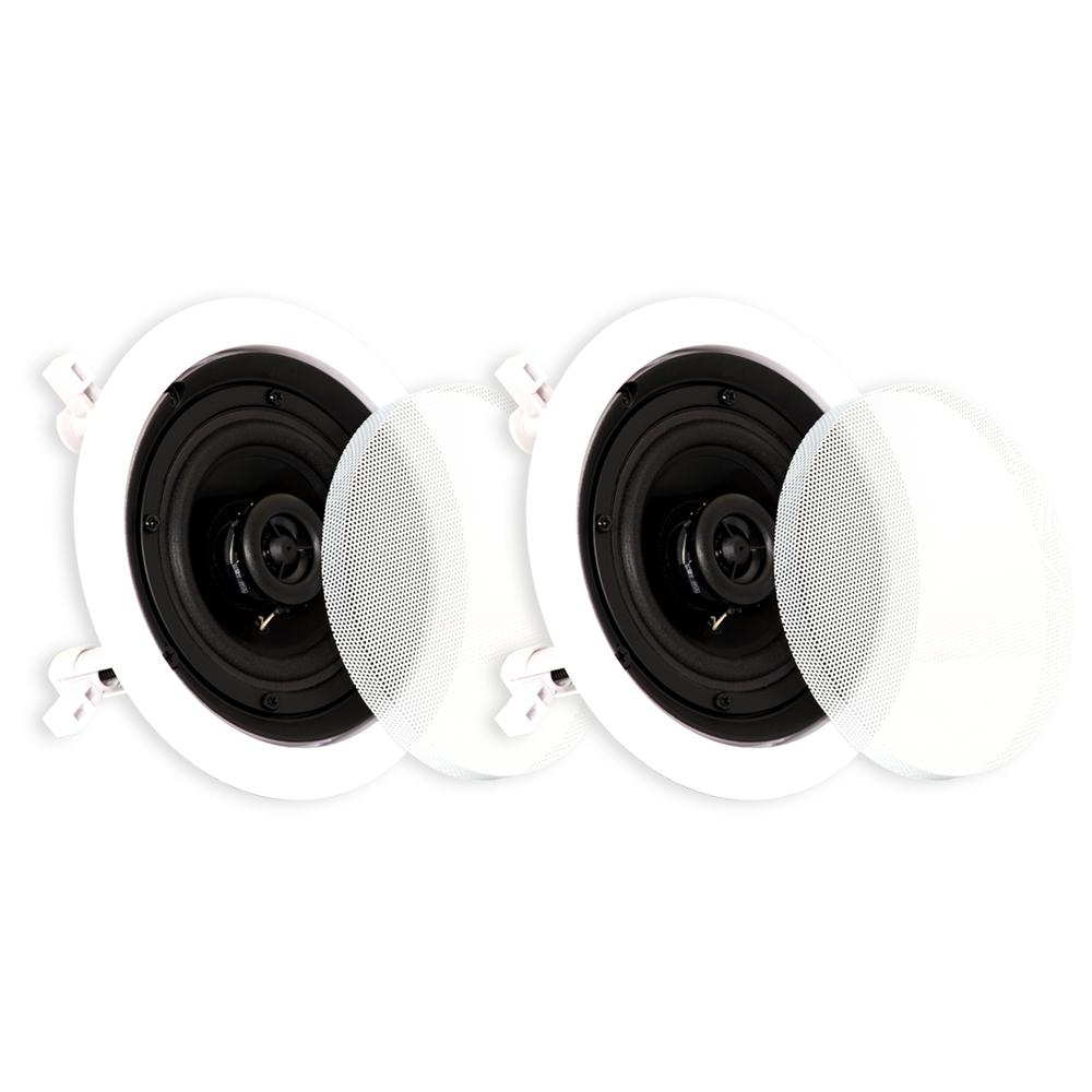 In-Ceiling Speakers Surround Home Theater Contractor Pair, White Theater Solutions Contractor Series In-Ceiling Speakers are newly designed for consumers who demand powerful bass in a compact package. Their easy in-ceiling installation and ultra wide sound dispersion design make them ideal for discreet, single or multi-room installations. All of Theater Solutions models feature the latest swing-out dog leg mounting system for easy installation, paint-able white aluminum. The polypropylene mica driver was designed for extended throw providing a full range of tones coupled with time-tested toughness. The 1 in. Mylar dome tweeter is located inside the woofer to direct sound at listeners, and its back chamber smooths and extends its performance. These state of the art components all add up to superior quality and design at a value that is second to none.
