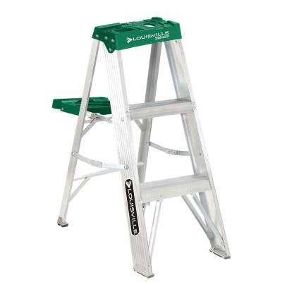 3 ft. Aluminum Step Ladder with 225 lbs. Load Capacity Type II Duty Rating