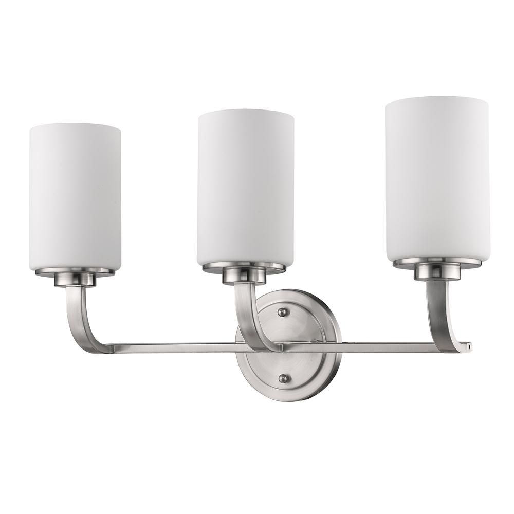 Acclaim Lighting Addison 3-Light Satin Nickel Vanity Light with Etched Glass Shades