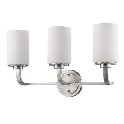 Addison 3-Light Satin Nickel Vanity Light with Etched Glass Shades