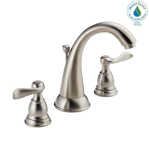 Delta Windemere 8 In Widespread 2 Handle Bathroom Faucet With Metal Drain Assembly In Stainless B3596lf Ss The Home Depot
