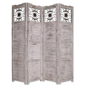 7 foot room divider feet tall nantucket ft white 4panel room divider gray railing scrolls dividermnscrn4 the home