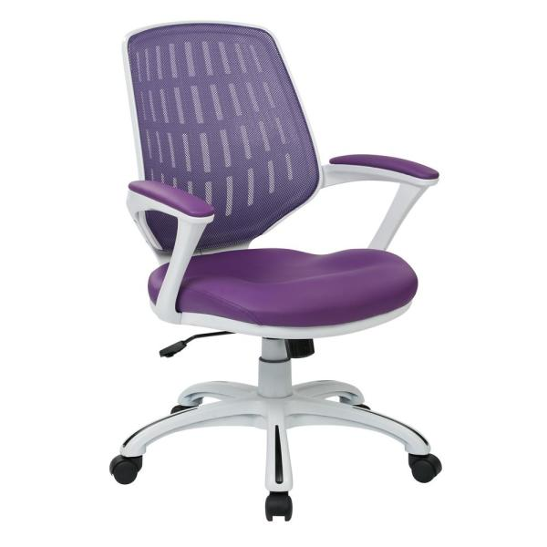 OSP Home Furnishings Calvin White Frame Office Chair with Purple Mesh Fabric and Arms