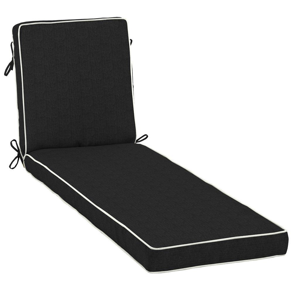 23 x 80 Sunbrella Canvas Black Outdoor Chaise Lounge Cushion