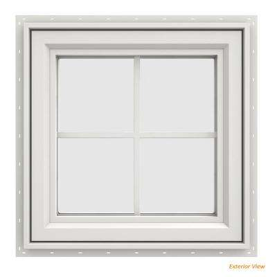 23.5 in. x 23.5 in. V-4500 Series White Vinyl Right-Handed Casement Window with Colonial Grids/Grilles