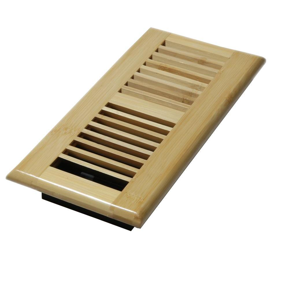 Decor grates 4 in x 10 in wood natural bamboo louvered for Floor registers