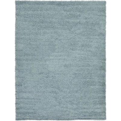 Solid Shag Slate Blue 7 ft. x 10 ft. Area Rug