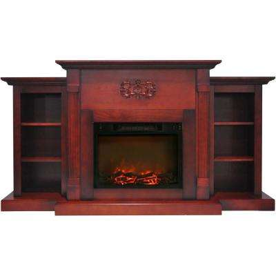 Classic 72 in. Electric Fireplace in Cherry with Built-in Bookshelves and 1500-Watt Charred Log Insert