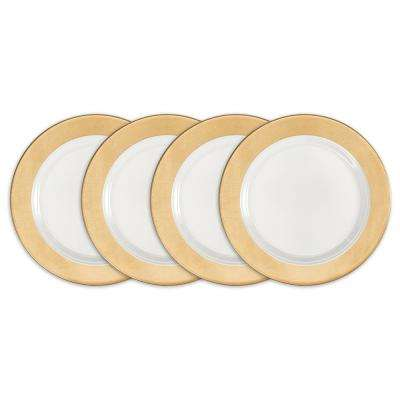 Moonbeam 4-Piece Gold Melamine 8 in. Ring Salad Plate Set