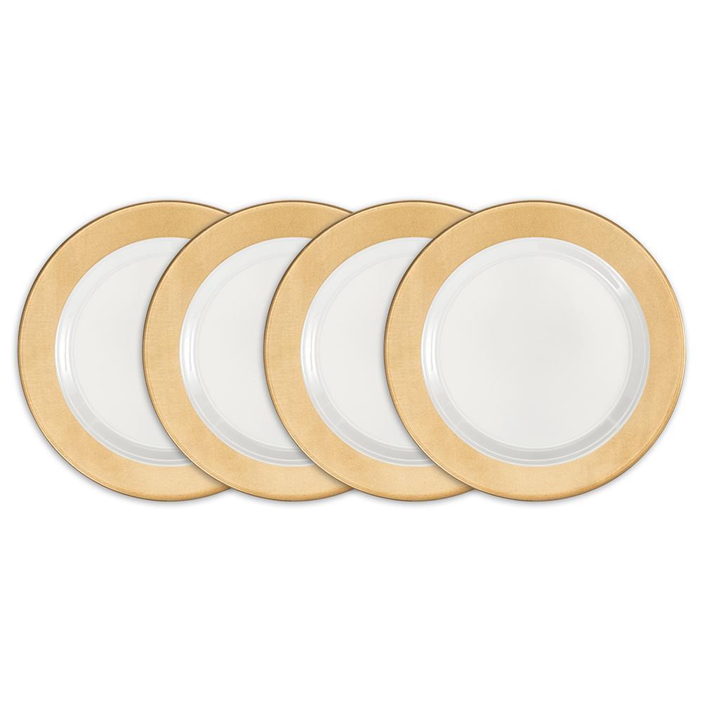 Moonbeam 4-Piece Gold Melamine 8 in. Ring Salad Plate Set
