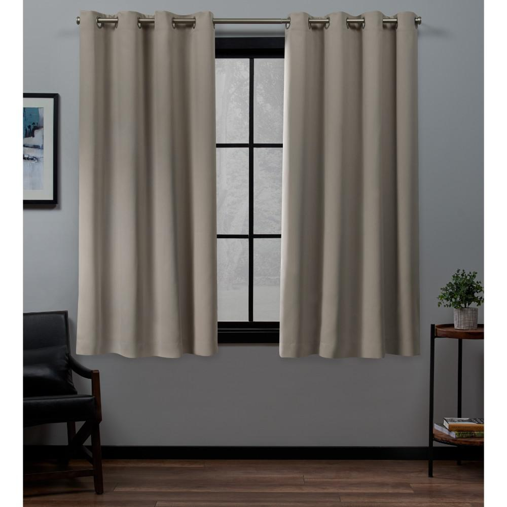 Exclusive Home Curtains Academy 52 in. W x 63 in. L Woven Blackout Grommet Top Curtain Panel in Vintage Linen (2 Panels)