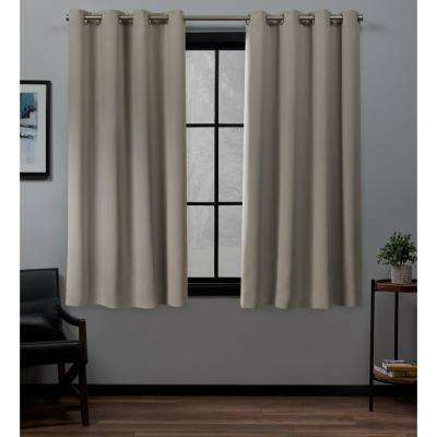 Academy 52 in. W x 63 in. L Woven Blackout Grommet Top Curtain Panel in Vintage Linen (2 Panels)
