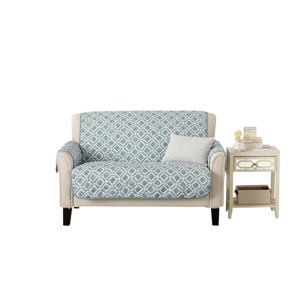 Liliana Collection Blue Silver Printed Reversible Loveseat Furniture Protector