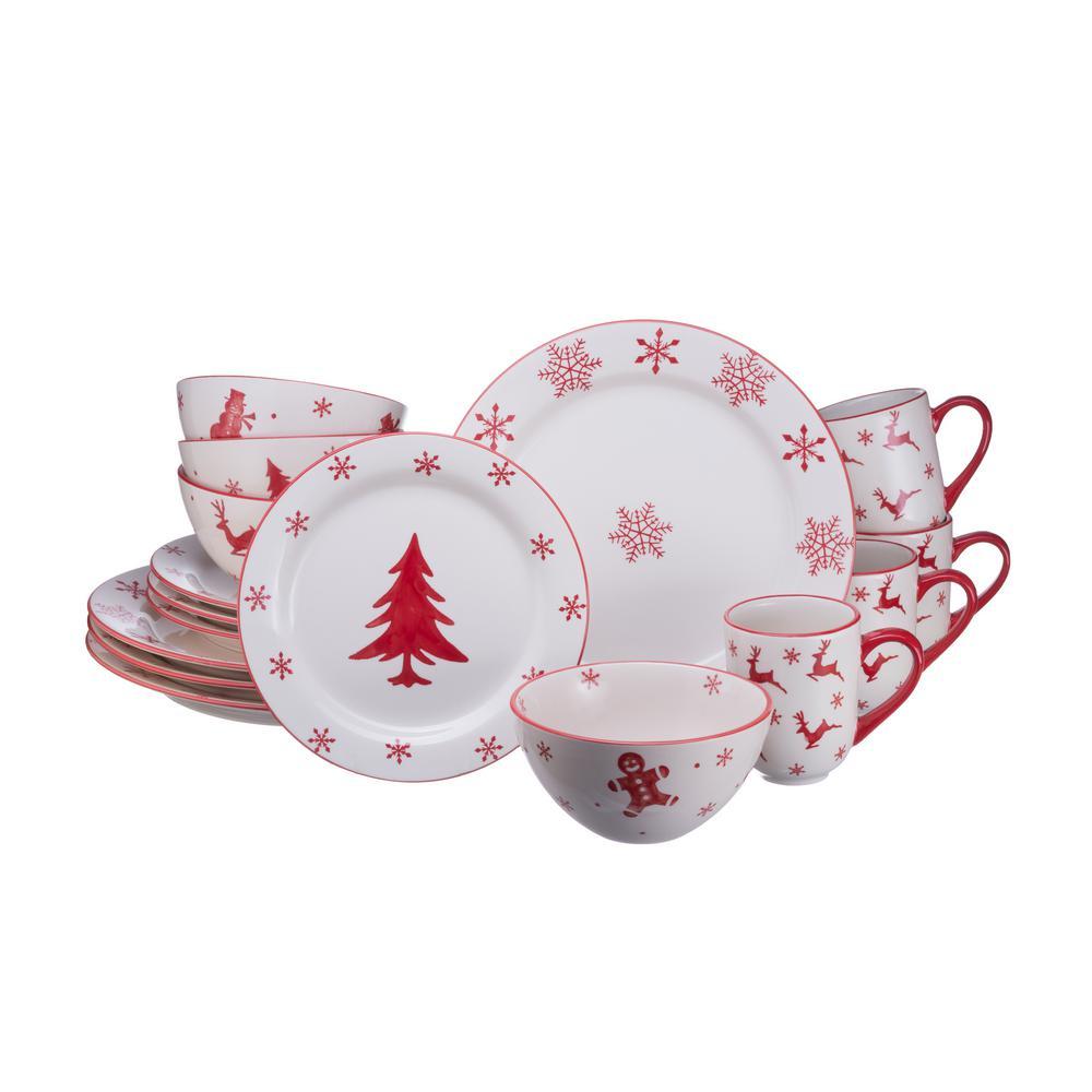 Euro Ceramica Winterfest 16-Piece Dinnerware Set
